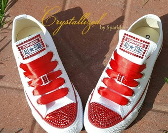Red Converse Chuck Taylor All Stars Adorned with Swarovski® Crystals (Toe and Heel)