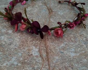 Plum Hair Wreath dusty mauve Bridal Flower crown baby headband fairy Headdress headpiece Wedding Accessories halo photo prop