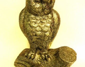 Owl Statue Figurine Retro Owl on a Log Statue Antique Golden Bronze Color Mid Century Metal on Ceramic