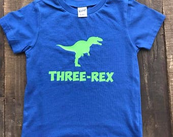 Dinosaur Birthday Shirt - Boys Birthday Shirt - Three Rex Shirt - Dinosaur Shirt