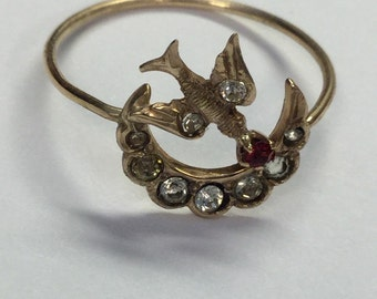 Antique Art Nouveau 10k Yellow Gold Sparrow Bird Crescent Moon Ring Stick Pin Coversion Size 8.25