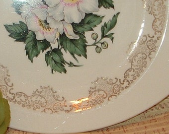 Antique China Platter with Gold design on rim and white Flowers in Center