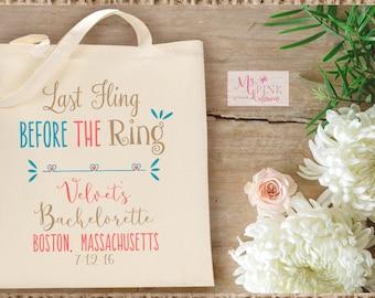 Bachelorette Tote bag Last Fling Before the Ring, Bachelorette gift, Bridesmaid gift, Wedding  Welcome Bags-  Wedding Destination bag
