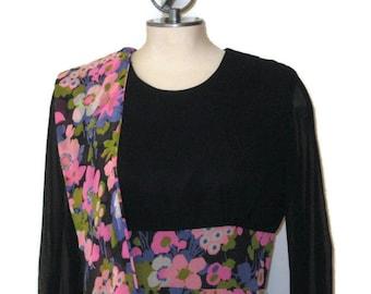 60s Floral Print Dress Black Floral Dress MOD Floral Dress 1960s Maxi Dress MOD Hostess Gown Long Sleeve Dress Pink Black Dress
