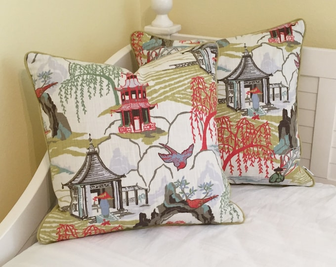 Neo Toile in Coral Designer Pillow Covers with Piping, Pair of Pillow Covers, Same Fabric on Both Sides, Robert Allen Fabric