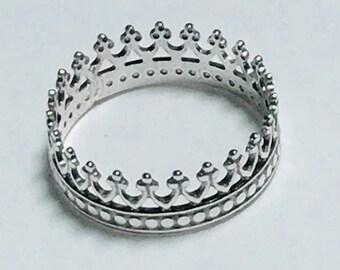 Crown Toe Ring,Sterling Silver Toe Ring, Princess Toe Ring,Beach Jewelry,Custom Toe Ring,Gift Idea,Toe Ring Women