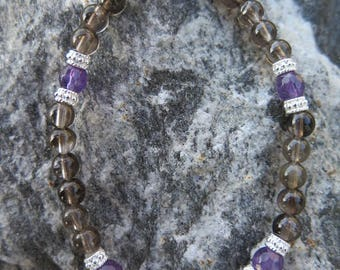 Smoky Quartz Bracelet with Amethyst facetted stones combined and certainly 925 Silver