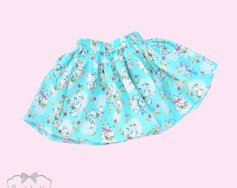 Easter Skirt - Girls Lamb Skirt - Girl Twirl Skirt - Infant Shabby Skirt - Easter Tween Skirt - Toddler Aqua Lamb Skirt 6 month to Girl 16