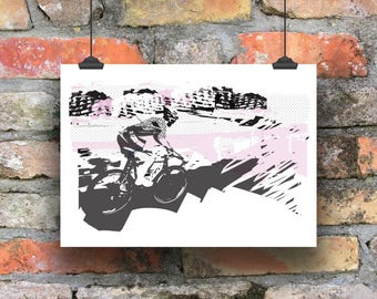 Cycling Art / Off the Front Cycling Print /  Giclee Cycling Print