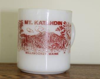 Fire King Milk Glass Mt. Katahdin Millinocket Maine Souvenir Mug