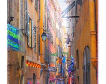 Beautiful Bright Color of Shopping area in Historic Nice, France