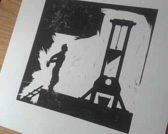 The Guillotine Man - linocut black and white print