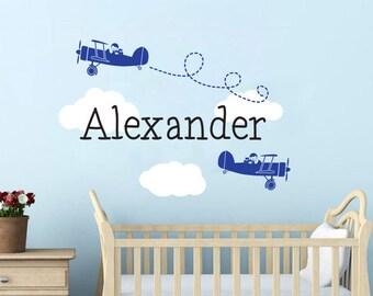 Airplane Name Wall Decal, Airplane nursery wall decals, Personalized name wall decal, Airplane decor, Name decal