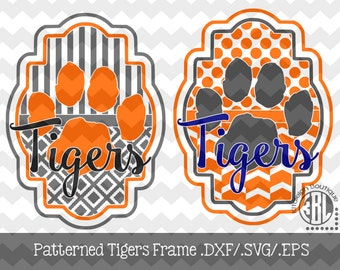 Tigers Patterned Frame design INSTANT DOWNLOAD in dxf/svg/eps for use with programs such as Silhouette Studio and Cricut Design Space