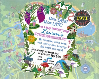 Alice in Wonderland Disney Drink Around the World Epcot Custom Birthday Bachelorette Party Invitation Digital Download
