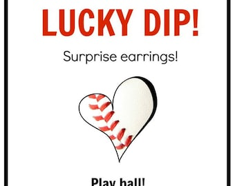 LUCKY DIP - Surprise pair of BASEBALL earrings - receive one pair of 7 designs with free shipping