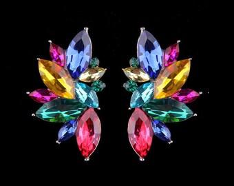 Crystal Stud Earrings - Colorful