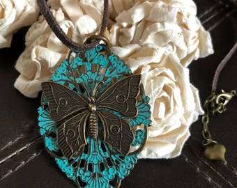 butterfly necklace, butterfly gift, bohemian necklace, butterfly pendant, butterfly jewelry, chunky necklace