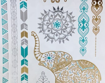 ELEPHANT Temporary Tattoo, YOGA Jewelry, Gold Metallic and Turquoise TATTOOS, designs from India, Body Jewels for Meditation and Yoga