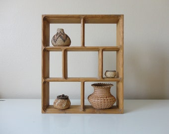 VINTAGE handmade solid WOOD curio SHELF - treasure shelf - knick knack shelf - small things display - wall hanging shelf - free stand shelf