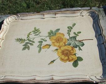 Italian Mid Century Hollywood Regency Florentine Large Serving Tray Yellow Roses