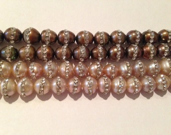 8mm round pearl with cubic zirconia, 50beads