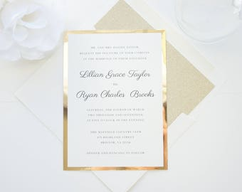 Luxury Wedding Invitations, Elegant Wedding Invitations, Gold Wedding Invitations, Gold Glitter Wedding Invitation- Deposit