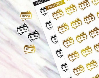 48 Credit Card Stickers, Credit Card Planner Stickers Bills, Happy Planner Stickers, Erin Condren Planner Stickers, Erin Condren Stickers