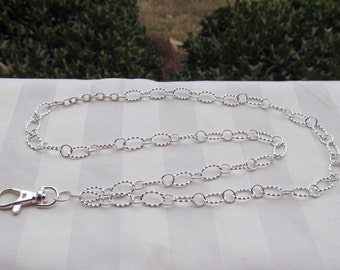 Sterling Silver Sturdy Chain ID Badge Lanyard Medium Twisted Oval Chain Links