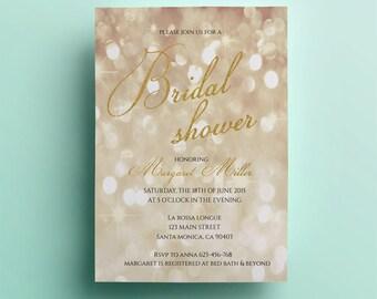 Gold bridal shower invitation template printable bridal shower invitation design instant download premade custom card gold glitter sparkling