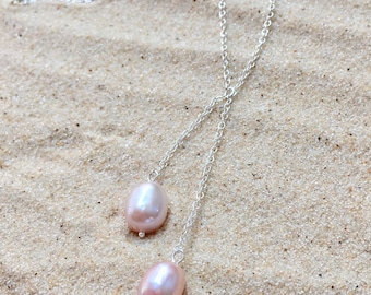 Pearl, necklace, pendant, double pearl, atedling silver, silver, chain, sterling, pink