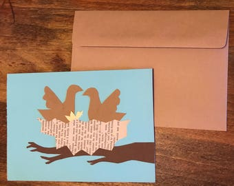 Welcome to the Nest: New baby card / expecting parent / gender neutral / bird nest / handmade