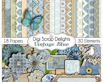 SALE Scrapbook Kit! Shabby Chic Vintage Blue Scrapbook Kit for Digital Scrapbooking, Card Making, Photo Backgrounds, Instant Download