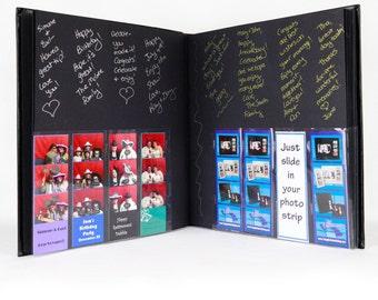 Photo Booth Album /Slip In/Bookbound 40pg Black Leather w/2x6 Photo Strip Insert on Cover
