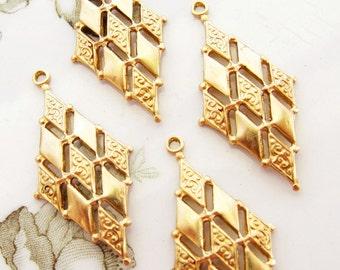 Vintage Style Art Deco Diamond Brass Earring Dangles Pendant 33mm Long – 4