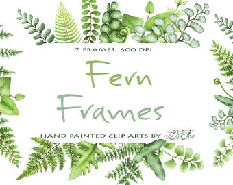 Watercolor Fern Clipart Greenery Frames Clip Art Ferns Leaf Leaves Woodland Vector Green Forest Illustration Wedding Invitation Foliage Fern