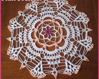 Round crochet doily, table centerpiece, white and gradient fans orange