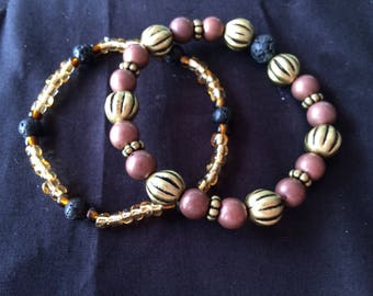 Lava Bead Essential Oil Diffuser/Aromatherapy Bracelet - Double Up