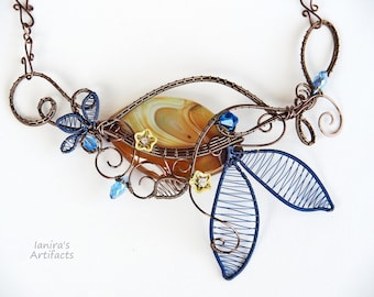 Large necklace Bib Statement Artistic wire wrapped nature botanical jewelry flower patterns leafy Anniversary gift for women blue yellow