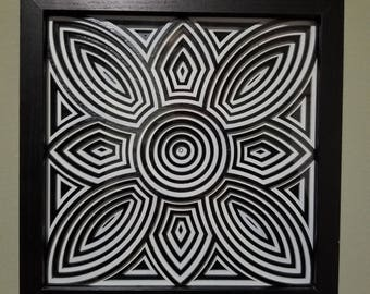 Black and white Abstract Wall art , Gift for the home , gifts for her, wood wall art, shadow box art