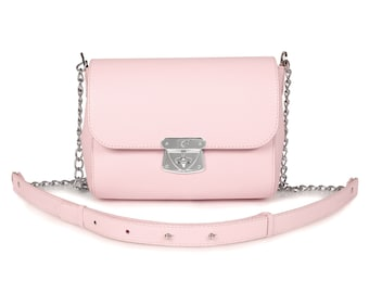 Leather Cross body Bag, Pink Leather Shoulder Bag, Women's Leather Crossbody Bag, Leather bag KF-483