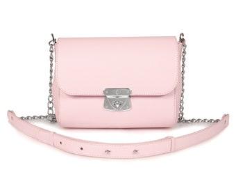 Leather Cross body Bag, Pink Leather Shoulder Bag, Women's Leather Crossbody Bag, Leather bag KF-483