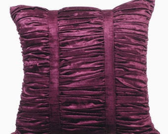 Decorative Throw Pillow Covers Accent Pillow Couch Sofa Bed Pillow 16x16 Plum Velvet Pillow Cover Plum Beauty Ruched Pillow -Plum Beauty