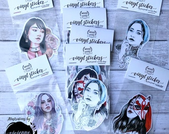 Pack of 4 Handmade Vinyl Stickers - Women Series 1