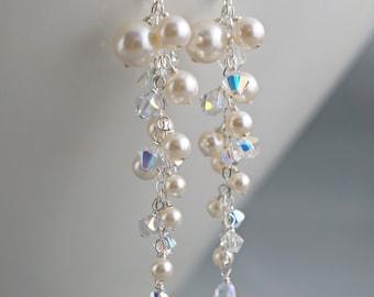Long bridal earrings, Pearl crystals cluster cascading earrings, Ivory cream white wedding earrings, Cascading drop sterling silver earrings