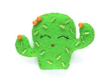 Hand Beaded Cactus Brooch