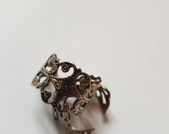 Baroque ring antiqued silver print