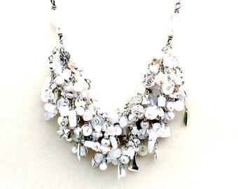 white fringe necklace. wire wrapped white beaded handmade romantic jewelry. swarovski. moonstone. pearls