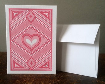 Letterpress Valentines Day Card - Reds on White