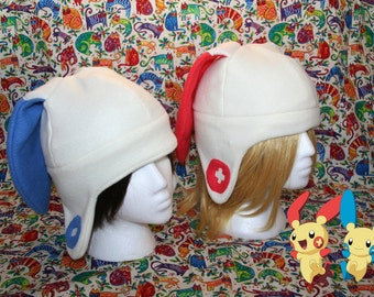 Plusle and Minun Pokemon fleece Hat with Earflaps-Adult/Kids size- Great Geeky Gift perfect for winter-Christmas gift